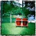 Red Adirondack chair in Deep Creek Maryland